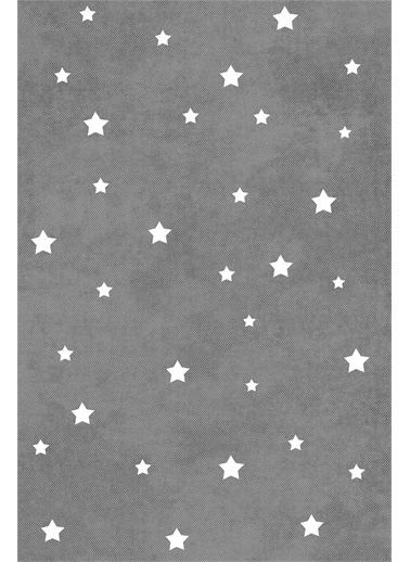 Frenda Frenda Home Yıldız Kaymaz Deri Taban Dekoratif Halı Beyaz